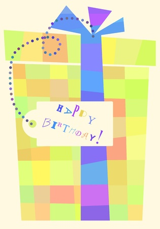 placeholder: Simple abstract birthday present box formed by colored squares with a placeholder for your text.