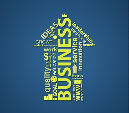 textcloud: An UP arrow formed by words on business topic.