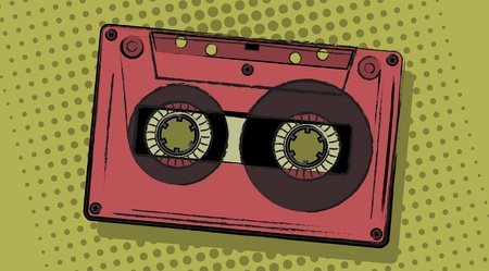 tape recorder: retro analogue cassette in a comic style.