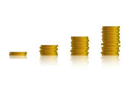 Piles of coins forming a growing graph, isolated on white. Stock Vector - 15586084