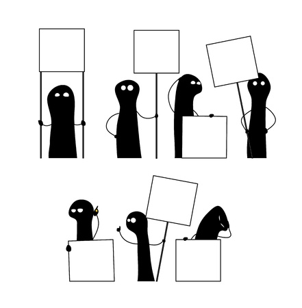 placeholder: Set of doodles expressing different emotions. Each one holds a blank banner with a placeholder for your text.