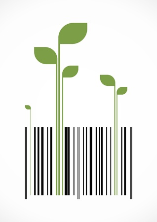 Conceptual bar code with green sprouts growing out of it.  Ilustração
