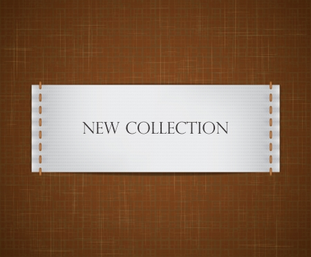etiquetas de ropa: etiqueta blanca realista cosió a un fondo de tela con textura. Vectores