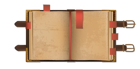 Old open blank book with bookmarks in a leather cover with metal clasps.
