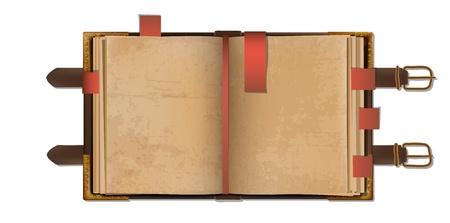 journal intime: Vieux livre ouvert blanc avec des signets dans un �tui en cuir � fermoir m�tallique.