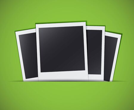 Four retro photo cards in a stylish green background. EPS10 vector Vector
