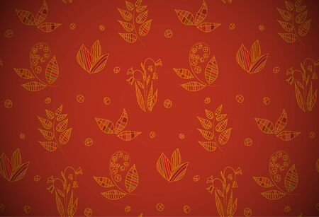 Red seamless floral background with autumn hand drawn leaves and flowers.  Vector