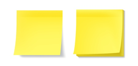 Yellow sticky notes with realistic effects.  Vector