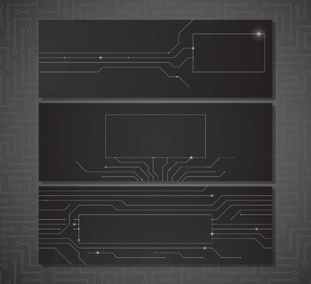 Three black horizontal banners with a place for your text with electric scheme elements and semiconductor tracks.  Vector