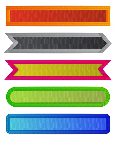 realism: Set of colorful ribbons of different shapes for bookmarking or label design with realism effects.