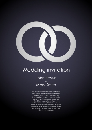 Stylish dark wedding invitation template with white rings and sample text.
