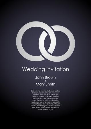 anillos de boda: Elegante boda oscuro plantilla de la invitaci�n con anillos blancos y texto de ejemplo. Vectores