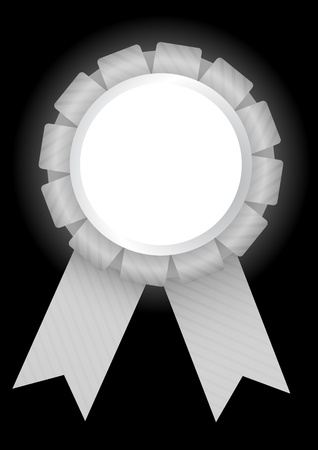 White prize badge with ribbon bow and a blank round placeholder on a black background. Vector