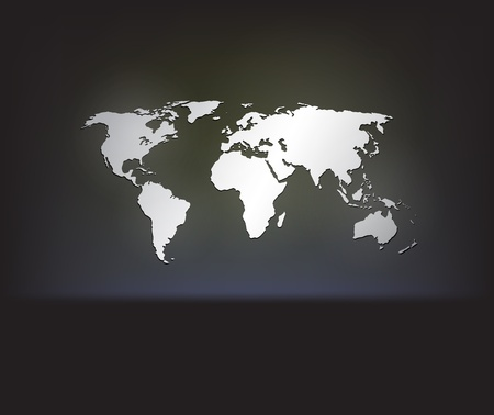 Stylish white world map on a gark background with cool glowing effects.  Vector