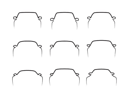 Set of simple black car front contours isolated on white