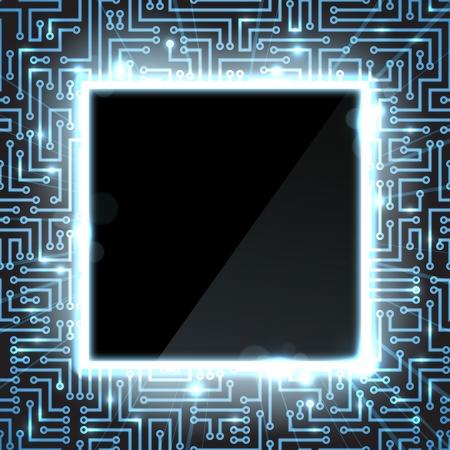 circuito integrado: La tecnolog�a inform�tica fondo con pistas de semiconductores y las se�ales digitales se muestra como destellos azules
