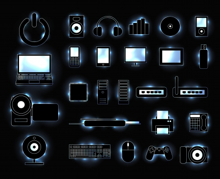 web cam: Set of glowing electronic media device icons with trendy sparkles
