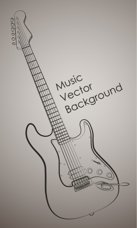 strum: Simple beige music background with electric guitar outlines