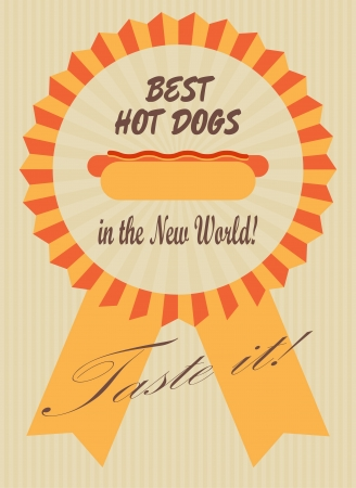 best ad: Retro advertising poster with a hot dog in a symbolic ribbon Illustration