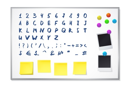 Set of elements for decorating a white office board. Includes a hand drawn alphabet and numbers Stock Vector - 15809981