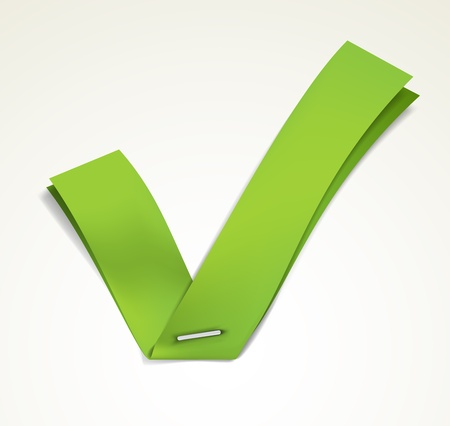 Green ribbon stapled to a white sheet forming a tick