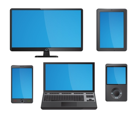laptop screen: Set of detailed modern electronic media device icons with blue screens