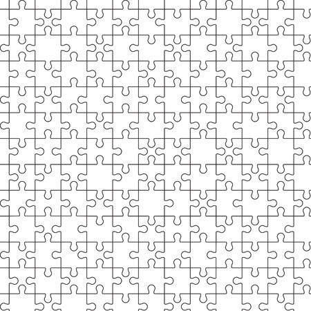 Big seamless puzzle jigsaw. Black countours on wite Vectores