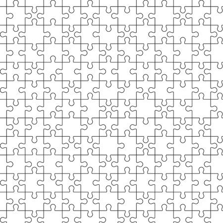 puzzle piece: Gran rompecabezas rompecabezas sin fisuras. Countours negras en wite Vectores