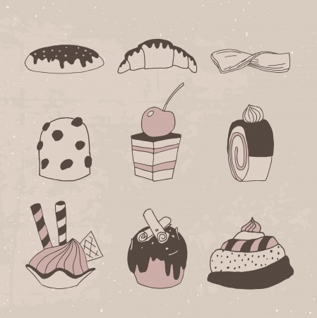 eclair: Set of vintage delicious hand drawn cakes