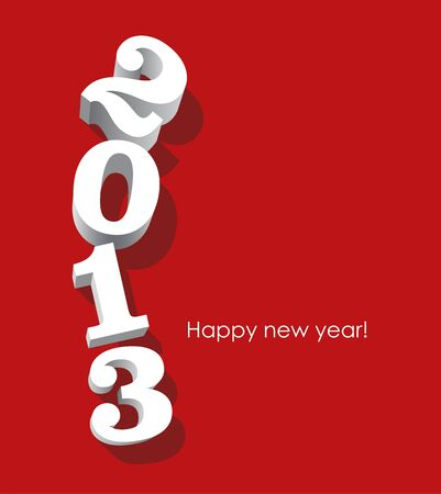 3d white 2013 numbers oriented vertically on red background. Vector image.
