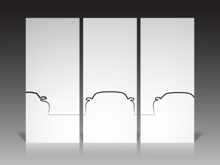Set of three monochrome car contour backgrounds, EPS10 vector image. Vector