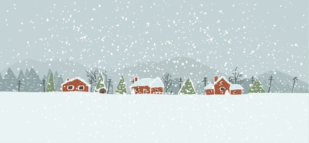 winter tree: Winter background with a peaceful village in a snowy landscape. Christmas vector hand drawn background. Illustration