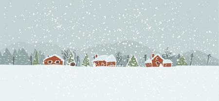 Winter background avec un village paisible dans un paysage enneigé. Main vecteur de Noël tiré de fond.