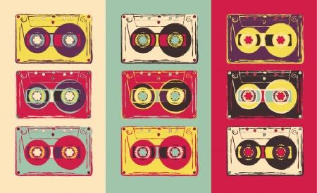 arte: Conjunto de cintas de audio retro, estilo pop art. Vector de imagen.