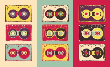 Set of retro audio cassettes, pop art style. Vector image. Illustration