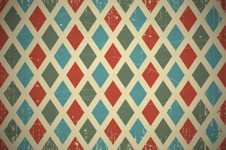 Retro diamond seamless background. EPS10 vector pattern. Scratches and grungy elements on a separate layer.