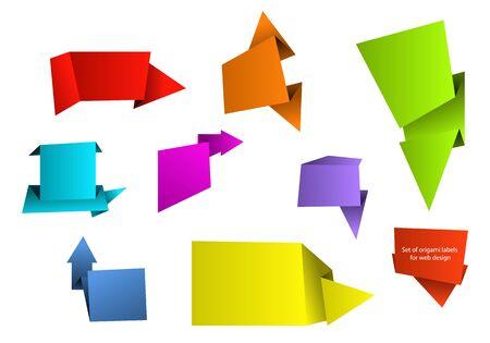 foe: Set of different colored origami labels foe cool web design. Vector image. Illustration