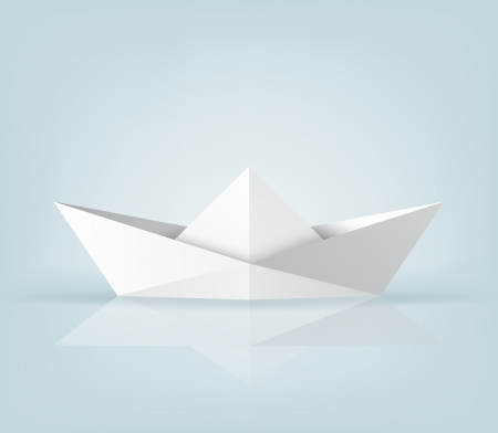 Realistic origami ship on light blue background. EPS10 vector Stock Vector - 16169255