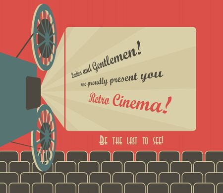 Old style poster for a retro cinema with a placeholder for your text  Movie hall with a screen and seats  Vector image  Vectores