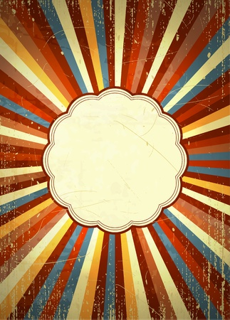 Bright retro style background with radial rays and a placeholder in the center  Scratches and grungy elements on a separate layer  EPS10 vector  Vectores