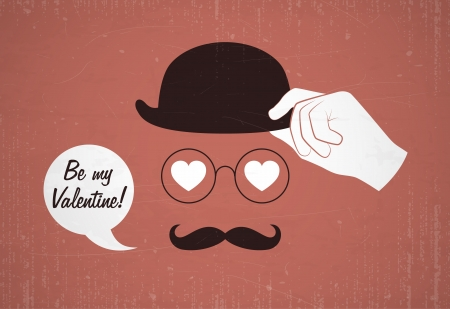 Conceptual valentine card with glasses and mustache  Vector illustration  Vector