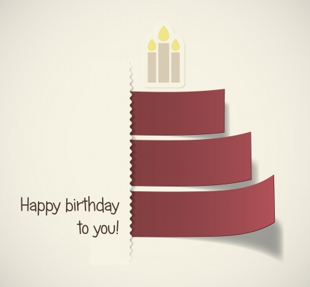 congratulations card: Stylish birthday cake formed by red ribbons  EPS10 vector