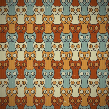 Cute retro cats seamless texture  EPS10 vector background  Scratches and grungy elements on a separate layer