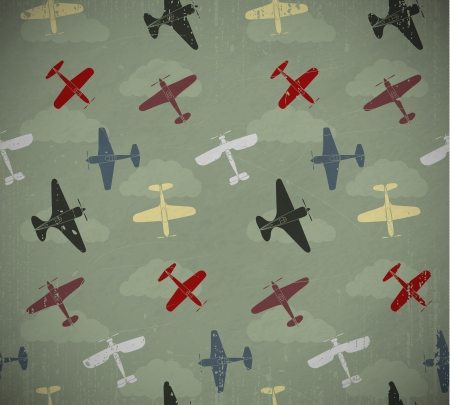 vehicle combat: Retro seamless war planes pattern  EPS10 vector image