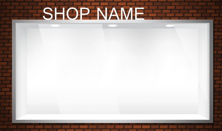 sidewalk sale: Empty shop window showcase  EPS10 vector storefront