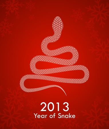 2013 new year poster with a snake with snowflakes on it Vector