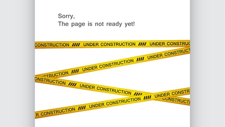 Blank web page covered with yellow tape with under construction text  EPS10 vector  Ilustração