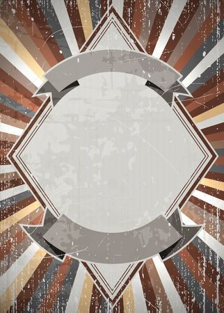Retro diamond shaped placeholder on a radial rays background  Grunge and scratches on a separate layer  EPS10 vector Stock Vector - 16169257