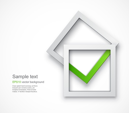 Background with an abstract green tick formed by two overlying square shapes Vectores