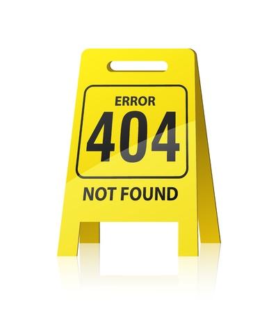 """404 error illustration. Yellow """",wet floor"""", style sign"""
